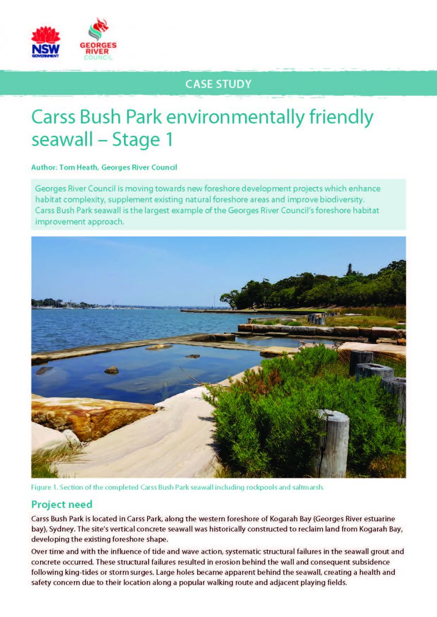 Title page, Carss Bush Park environmentally friendly seawall - Stage 1 Case Study