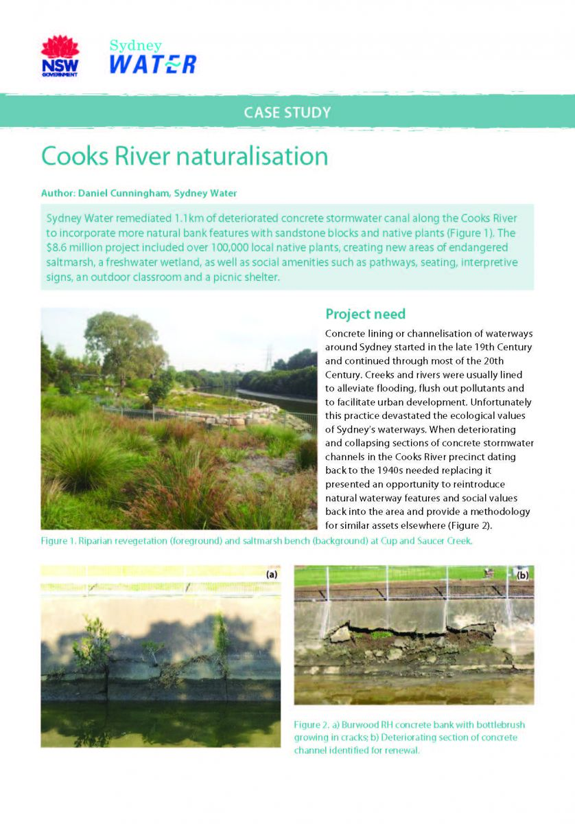Title page - Cooks River naturalisation case study document