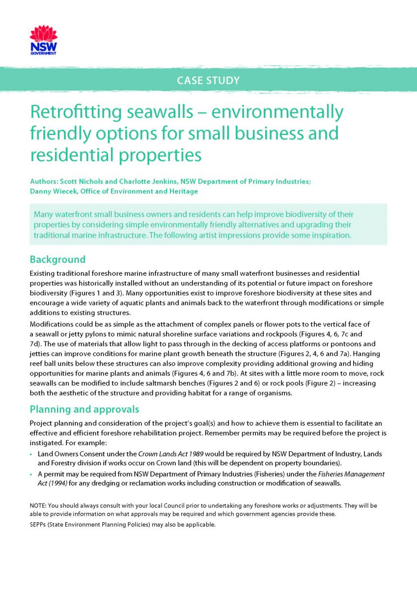 Title page - Retrofitting seawalls for small business and residential