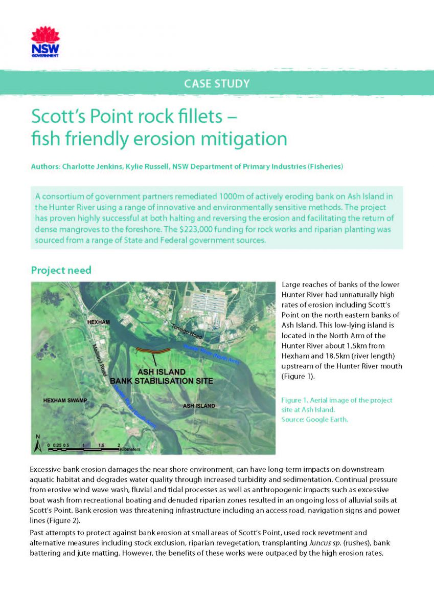 Title page - Scott's Point rock fillets – fish friendly erosion mitigation case study